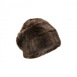 Шапка из меха колонка FurLand. Цвет: коричневый