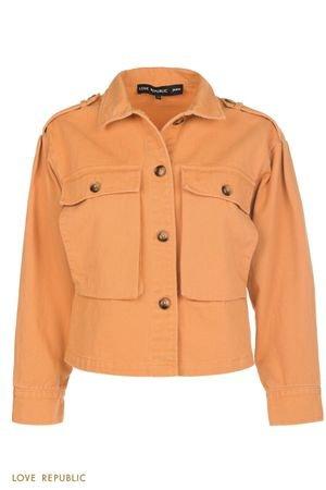 Куртка из оранжевого денима с нагрудными карманами LOVE REPUBLIC