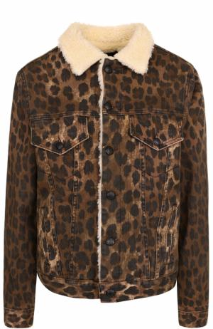 Утепленная джинсовая куртка с леопардовым принтом R13. Цвет: леопардовый
