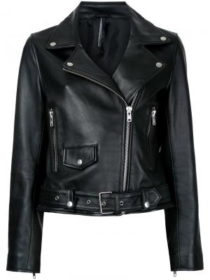 Байкерская кожаная куртка Nobody Denim. Цвет: чёрный