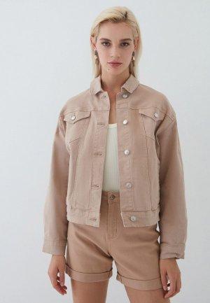 Куртка джинсовая Zarina. Цвет: бежевый