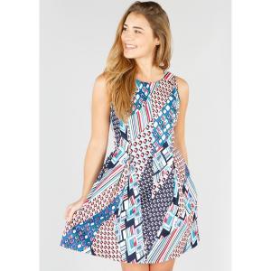 Платье короткое с графическим рисунком, без рукавов DERHY. Цвет: темно-синий/рисунок