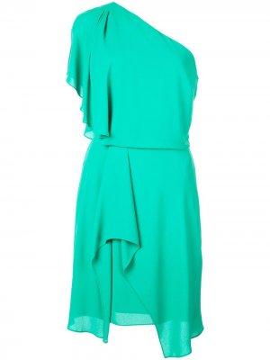 Платье на одно плечо Halston Heritage. Цвет: зеленый