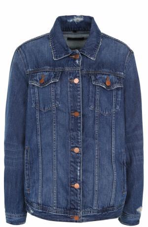 Джинсовая куртка прямого кроя с потертостями J Brand. Цвет: синий