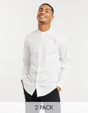 Набор из двух приталенных классических рубашек с воротником-стойкой -Белый French Connection