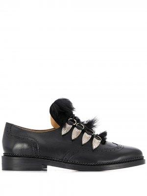 Броги на шнуровке с искусственным мехом Toga Pulla. Цвет: черный