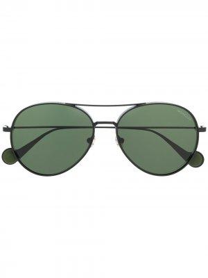 Солнцезащитные очки-авиаторы в круглой оправе Moncler Eyewear. Цвет: черный