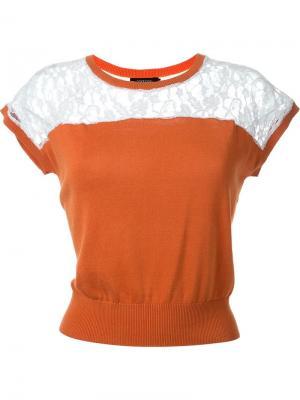 Топ с кружевной вставкой Loveless. Цвет: оранжевый