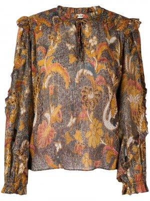 Блузка с оборками Ulla Johnson. Цвет: коричневый