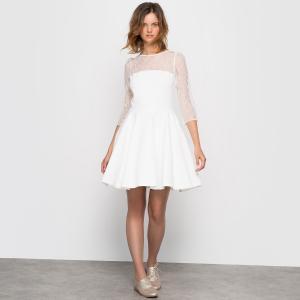 Платье свадебное короткое LA REDOUTE COLLECTIONS. Цвет: экрю