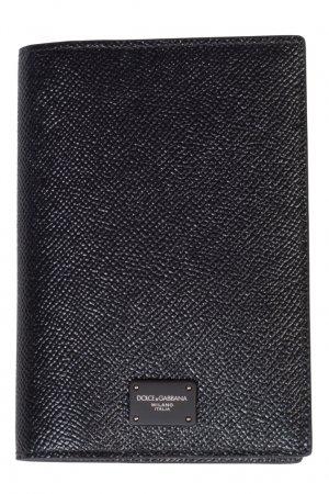 Черный кожаный держатель для карт Dolce&Gabbana. Цвет: черный