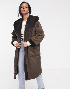 Удлиненное пальто с искусственной овечьей шерстью и капюшоном -Коричневый Religion