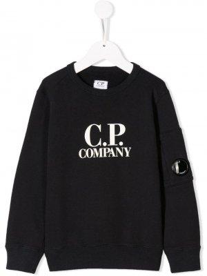 Толстовка с логотипом Cp Company Kids. Цвет: синий