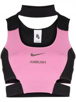 Спортивный топ из коллаборации с AMBUSH Nike. Цвет: черный
