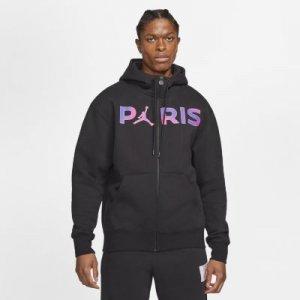 Мужская флисовая худи с молнией во всю длину Paris Saint-Germain - Черный Nike