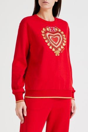 Красный пуловер с декором Escada