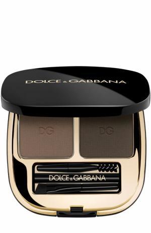 Набор теней для коррекции бровей, оттенок 2 Natural Brunette Dolce & Gabbana. Цвет: бесцветный