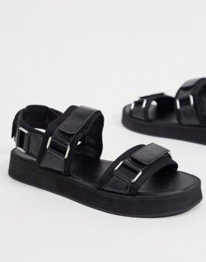 Черные сандалии с пряжками -Черный Missguided