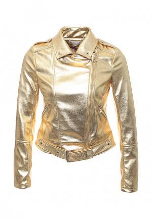 Куртка кожаная Patrizia Pepe PA748EWPAF20. Цвет: золотой