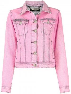 Джинсовая куртка из вареного денима Philipp Plein. Цвет: розовый