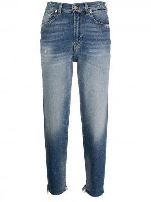 Укороченные джинсы с необработанными краями 7 For All Mankind. Цвет: синий