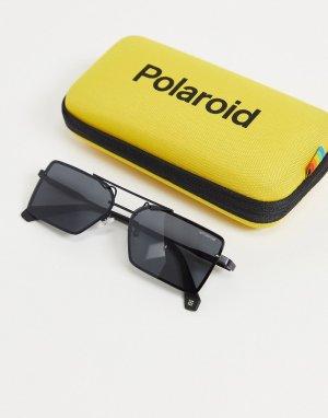 Солнцезащитные очки в стиле унисекс с квадратными линзами -Черный Polaroid