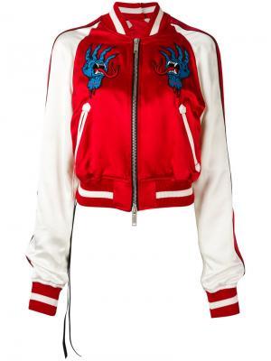 Куртка-бомбер с вышивкой Unravel Project. Цвет: красный
