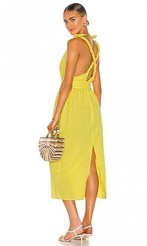 Платье миди calypso Mara Hoffman. Цвет: желтый