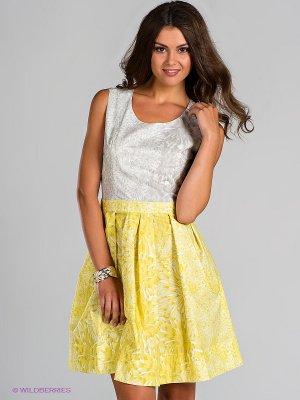 Платье Blue deep. Цвет: серый, желтый