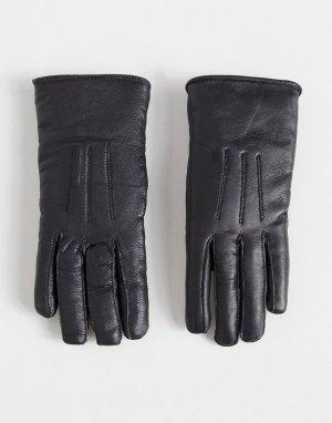 Кожаные перчатки с овечьей шерстью -Черный цвет Bolongaro Trevor