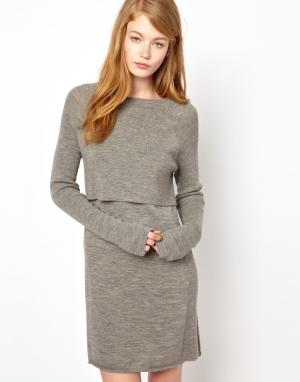 Трикотажное платье с накладкой BZR. Цвет: серый меланж