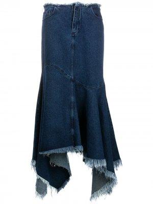MarquesAlmeida длинная джинсовая юбка асимметричного кроя Marques'Almeida. Цвет: синий