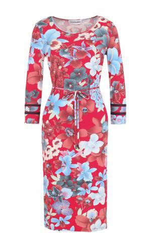 Платье-миди с цветочным принтом и поясом Leonard Paris. Цвет: красный