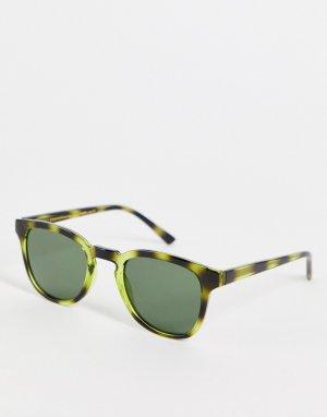 Квадратные солнцезащитные очки в стиле унисекс с прозрачной зеленой оправой черепаховым дизайном Bate-Зеленый цвет A.Kjaerbede