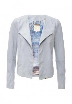 Куртка кожаная Ted Baker London. Цвет: голубой