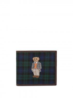 Кошелек в клетку тартан с вышивкой Polo Ralph Lauren. Цвет: синий