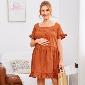 Однотонное платье с оборками для беременных SHEIN. Цвет: утомленный оранжевый