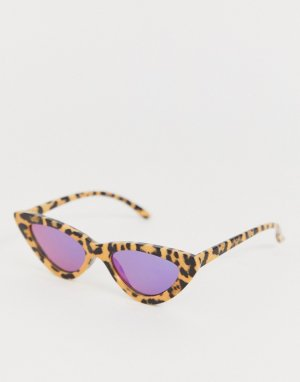 Узкие солнцезащитные очки кошачий глаз с гепардовым принтом -Бежевый AJ Morgan