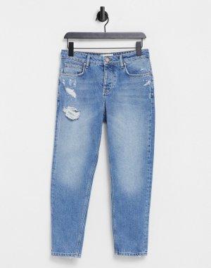 Классические джинсы из плотного денима светло-голубого винтажного выбеленного цвета с рваной отделкой -Голубой ASOS DESIGN