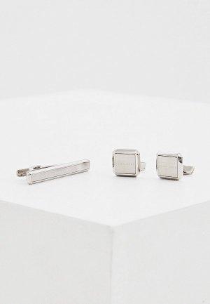 Комплект Boss Jamis and Tamis SET, зажим для галстука и запонки 1 пара. Цвет: серебряный