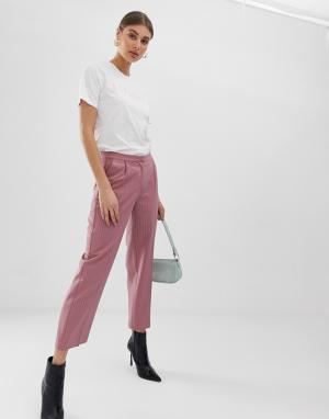 Расклешенные брюки в тонкую полоску -Розовый Pieces