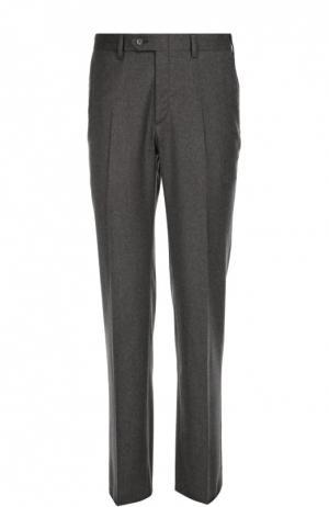 Классические шерстяные брюки с кожаной отделкой Brioni. Цвет: светло-серый