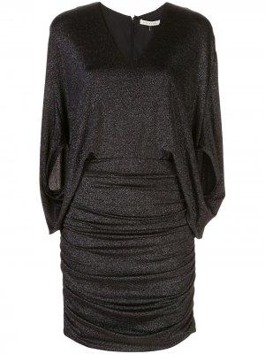 Трикотажное платье с эффектом металлик Halston Heritage. Цвет: черный