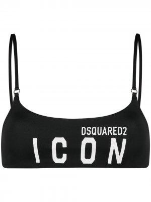 Лиф бикини с логотипом Dsquared2. Цвет: черный