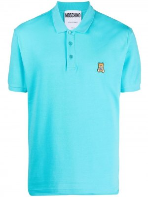 Рубашка поло с вышивкой Teddy Bear Moschino. Цвет: синий