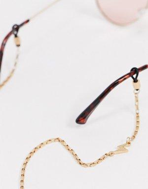Золотистая цепочка для солнцезащитных очков с подвеской-молнией -Золотой Icon Brand
