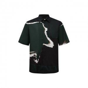 Хлопковая рубашка Dries Van Noten. Цвет: зелёный