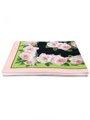Пляжное полотенце с цветочным принтом Dolce & Gabbana. Цвет: черный