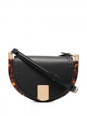 Сумка на плечо с тисненым логотипом Fendi. Цвет: черный