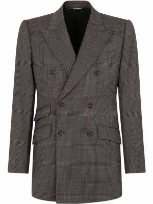 Клетчатый костюм с двубортным пиджаком Dolce & Gabbana. Цвет: коричневый
